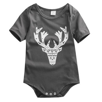Baby Boys Girls Short Sleeve Cotton Elk/Rabbit Head Bodysuit Grey 70(0-6M)