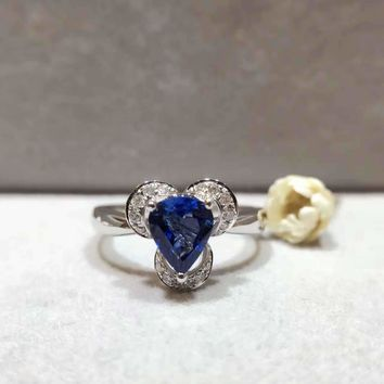 18K Gold 1.028ct Natural Sapphire Women Ring with 0.119ct Diamond Setting 2016 New Fine Jewelry Wedding Band Engagement