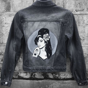 Amy Winehouse Inspired Painted Black Denim Jacket (Size US 4, UK 8, EURO 34)