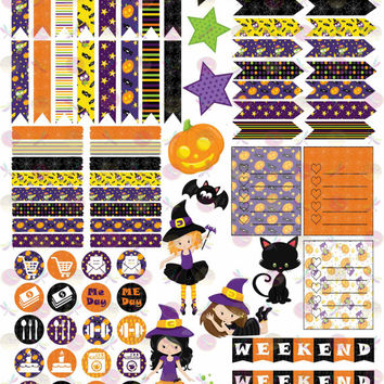 50% OFF Sale! DIY October Halloween Printable Planner Mini Kit 125 Stickers pdf and 2 jpeg Erin Condren Life Planner Kikkik Filofax