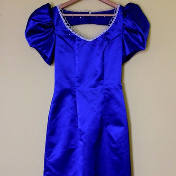 Vintage Prom Dress Royal Blue with Beaded Edging Rhinestone 80s Gown Size XS SM Puff Sleeves
