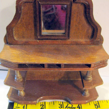 Dollhouse Furniture Doll House Miniature Hutch Wood Sideboard Buffet
