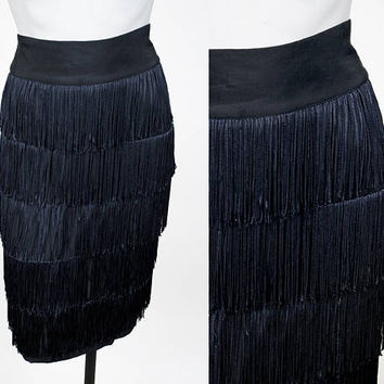 Vintage 80s Skirt / 1980s Black Fringe Pencil Skirt M
