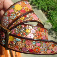 Pastel Flower Garden  Leather Belt with Brown Border made in GA USA