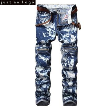 Mens Jeans Camo Blue Printing Slim Fit Distressed Ripped Zipper Biker Zipped Jeans Skinny Motorcycle HipPop Punk Pants Homme