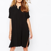 Vila Button Down Collarless Shirt Dress