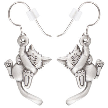 Cat Hanging Pewter Fishhook Earrings