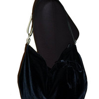 Big crossbody hobo bag very soft black velvet