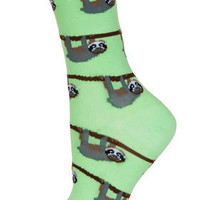 Light Green Sloths Ankle Socks - Tights & Socks  - Clothing