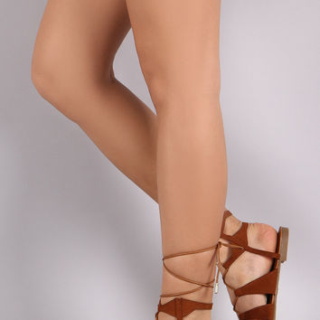*Bamboo Lace Up Ankle Gladiator Flat Sandals