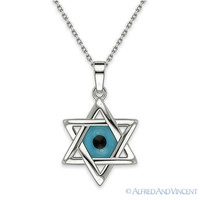 Star of David Charm Evil Eye Bead Pendant Hamsa Jewish Kabbalah Silver Necklace