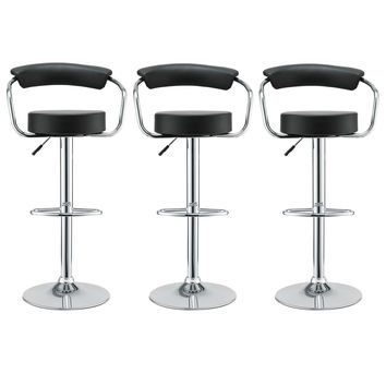 LexMod Three 50's Diner Bar Stools in Black Vinyl