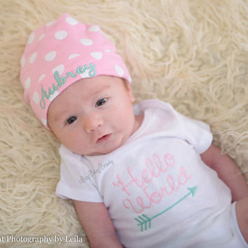 Hello World arrow baby bodysuit ANY COLORS personalized chevron hat newborn shower gift set coming home outfit
