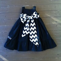 Custom boutique children's clothing. Girls Little Black Dress. Ruffle detail. Black white chevron or custom sash. By EverythingSorella
