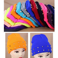 2015 Autumn  Winter Women Knitted Hat Female Jelly Fluo Hat Plastic Rivets Wrap Gorro Beanies Cap Warm Many Colors