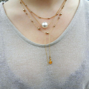 Pearl Gold Layer Necklace // Set of 3 Layered Necklace // Dainty Long Necklace // Tiny Gold Necklaces
