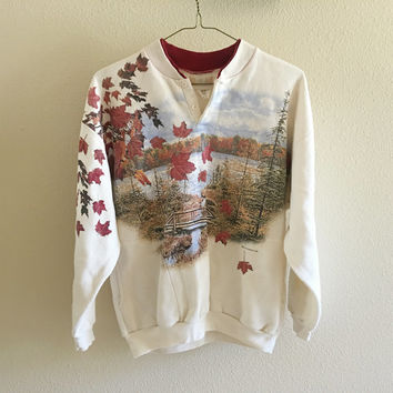 Fall Scenery Sweatshirt Oversized Vintage 90s L