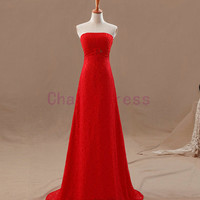 simple slim strapless red lace wedding dress   long elegant prom dresses   chinese wedding gown with train