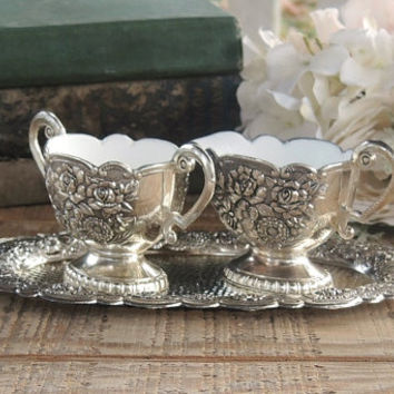 Vintage Metal Sugar and Creamer 3 Piece Set Mid Century Made in Japan