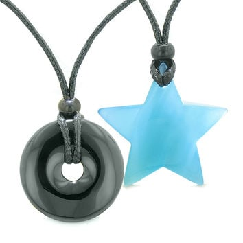 Large Coin Donut Super Star Amulet Love Couple or Best Friends Black Agate Sky Blue Cats Eye Necklaces