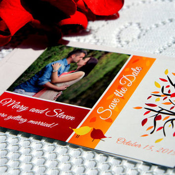 Fall Save the Date Magnet – Fall Wedding, Tree, Love Birds, Photo Magnet, Fall Theme, Save the Dates - DEPOSIT
