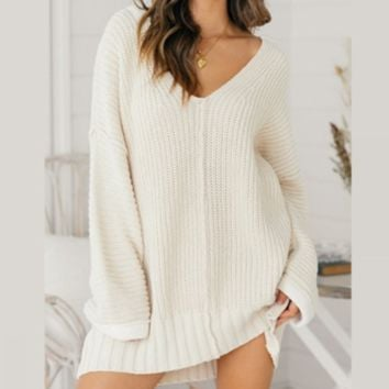 Women's loose v-neck long dress sweater