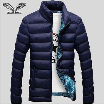 Winter Jackets Mens 2017 New Stylish Slim Fitness Quilted Long Sleeve Cotton-Padded Solid Thick Parkas XXXXL N439