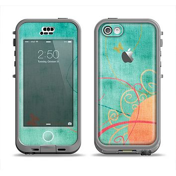 The Vintage Green Grunge Texture with Orange Apple iPhone 5c LifeProof Nuud Case Skin Set
