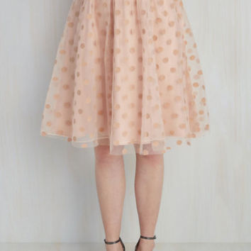 80s Mid-length Full Your Bubbly Side Skirt in Blush