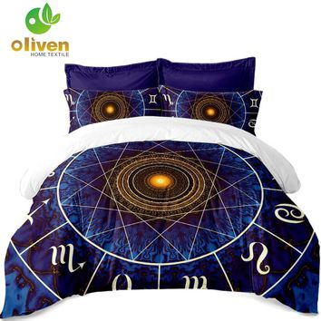Cool Constellations Print Bedding Set Galaxy Duvet Cover Set Geometric Pattern Quilt Cover Pillowcase King Queen Soft bedclothes A40AT_93_12