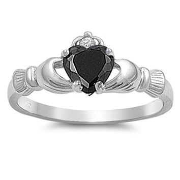 Black Heart Irish Claddagh Engagement or Friendship Ring Cubic Zirconia and Sterling Silver