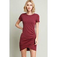 Ruched Short Sleeve Dress - Wine