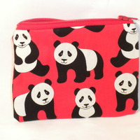 Panda change purse red panda zipper pouch by redmorningstudios