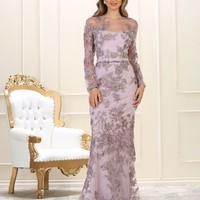 Long Sleeve Evening Gown Dress Plus Size