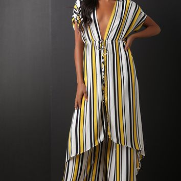 Striped High Low With Palazzo Pants Set