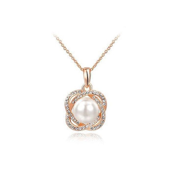 New Arrival Shiny Stylish Gift Pearls Jewelry Floral Necklace [9281915716]