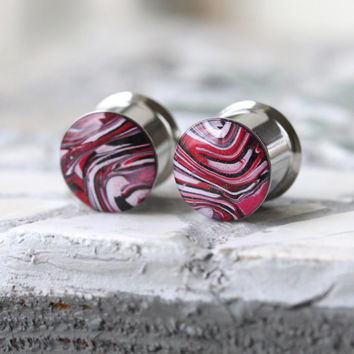 """1/2"""" Plugs, Polymer Clay Ear Plugs, Red Gauges, Fashion Plugs, Double Flare, Stretched Ears - size 1/2"""" (12mm)"""