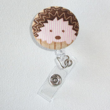Retractable ID Badge Holder Reel  - Fabric Button  - Adalee the hedgehog
