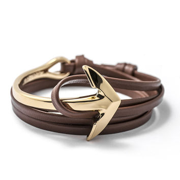 Gold Anchor Half-cuff On Brown Leather Bracelet