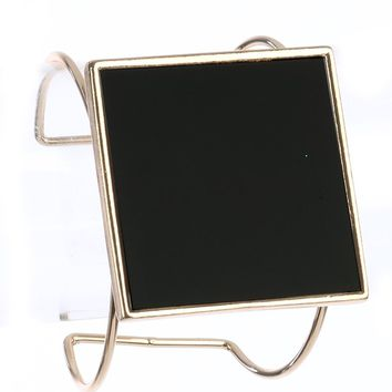 Black Square Glass Stone Metal Wire Cuff Bracelet