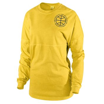 Official NCAA University of Michigan Wolverines U of M THE VICTORS! Women's Long Sleeve Spirit Wear Jersey T-Shirt