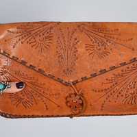 1970s Hand Tooled Leather Clutch / Arrows & Suns / Vintage Purse / Southwest Style / Festival Wear / Document Clutch