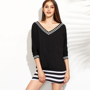 Patchwork Knit Stylish V-neck Tops [9195402183]