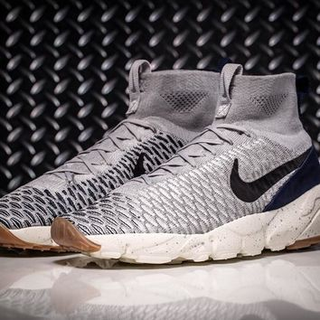 Nike Air Footscape Magista Flyknit Mens Lifestyle New Gray / Blue Sneakers