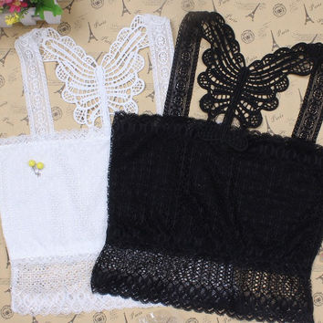All-match Solid Color Hollow Butterfly Lace Strap Small Vest