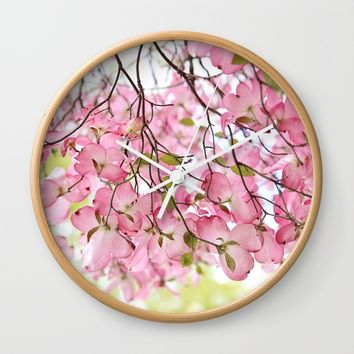 pink dogwoods Wall Clock by Sylvia Cook Photography