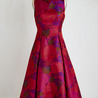Long Sleeveless Fit & Flare Extraordinary Epicure Dress in Garnet Size 4 by ModCloth