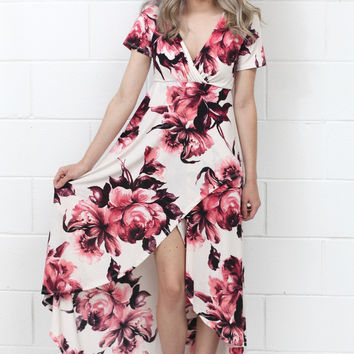 Floral Sunset Hi-Lo Wrap Dress {Ivory Mix}