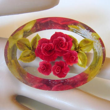 40s Vintage Clear Lucite Reverse Carved Floral Rose Bouquet Brooch / Red / Green / Jewelry / Jewellery
