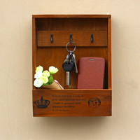 Hot Handmade Boxes Cargo Organizer Storage Box Simple Small Key Hanging Storage Case Phone Box Wood Shelf Wood Rack